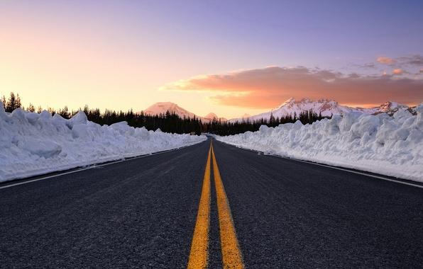 Картинка зима, лес, небо, снег, Дорога