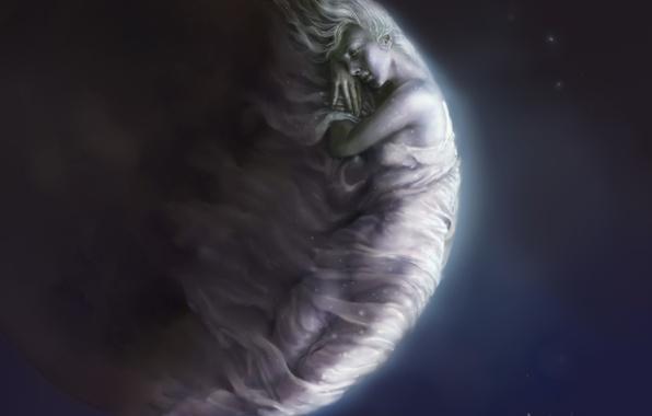 Картинка девушка, ночь, лицо, фантастика, луна, руки, арт, спит, профиль, Steve De La Mare