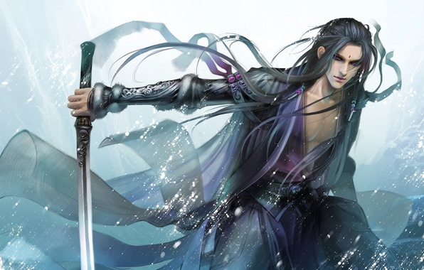 Картинка оружие, меч, катана, арт, искры, парень, heise