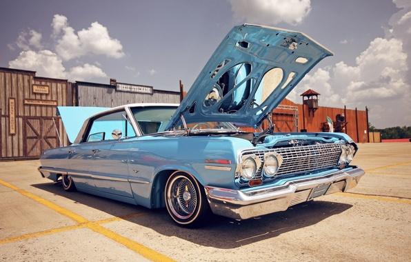 Картинка стиль, Chevrolet, капот, день, lowrider, шевроле, usa, impala, импала