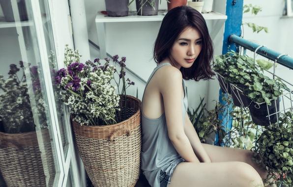 Картинка девушка, цветы, балкон, азиатка