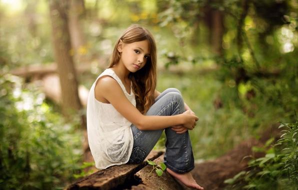 Фото обои природа, джинсы, девочка, Alone