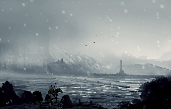 Картинка холод, зима, снег, горы, город, конь, долина, арт, всадник