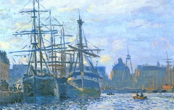 Картинка море, небо, пейзаж, город, корабль, парусник, картина, порт, Клод Моне