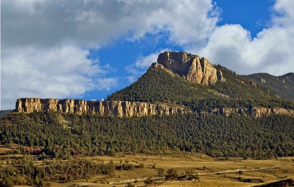 Картинка лес, небо, облака, деревья, скала, гора, долина