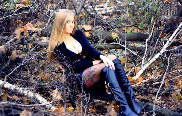Картинка осень, лес, попка, грудь, девушка, поза, волосы, спина, животик, юбка, сапоги, руки, фигура, стройная, платье, …
