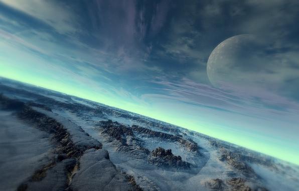 Картинка холод, небо, поверхность, снег, камни, планета