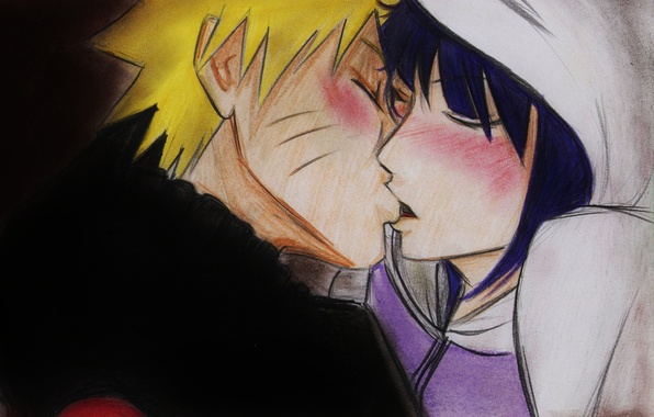 Картинка девушка, поцелуй, аниме, арт, парень, Наруто, Naruto, Naruto Uzumaki, Хината, Hyuuga Hinata