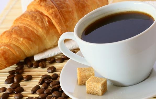 Картинка фон, кофе, еда, зерна, кружка, чашка, сахар, сладкое, салфетка, круассаны