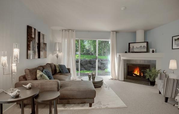 Картинка дизайн, дом, стиль, вилла, интерьер, камин, гостиная