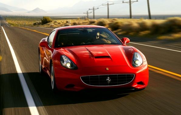 Картинка car, машина, скорость, red, california, ferrari, автомобиль, феррари, auto, convertible, калифорния, wallpapers, speed, едет, крсаня