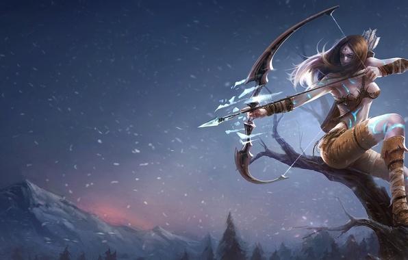 Картинка лед, девушка, снег, горы, дерево, лук, лучница, league of legends