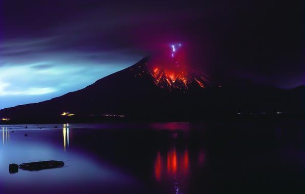 Картинка огонь, стихия, вулкан, лава, Сакурадзима