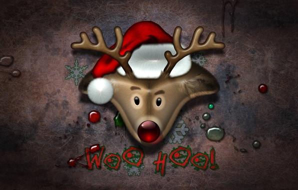 Картинка праздник, новый год, олень, new year, санта, шапочка, holiday, deer