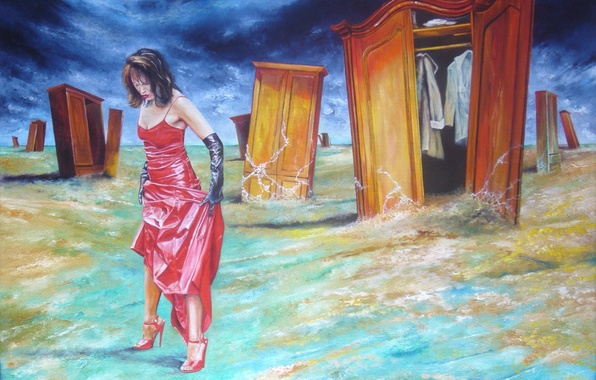 Картинка девушка, абстракция, одежда, рисунок, платье, арт, туфли, перчатки, в красном, шкафчики, Wlodzimierz Kuklinski