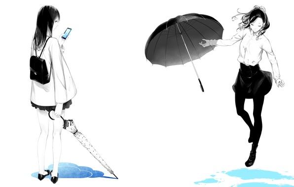 Картинка девушки, лужи, зонты, телефон, рюкзак, art, sawasawa