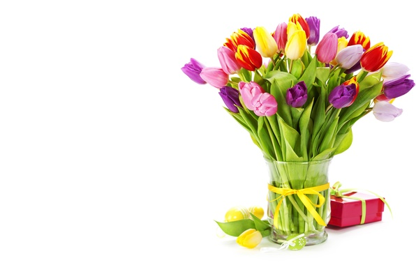 Картинка зелень, цветы, желтый, красный, розовый, подарок, растение, букет, весна, тюльпаны, ваза