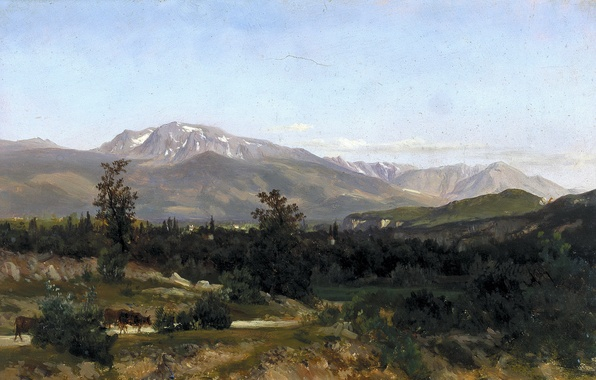 Картинка дорога, деревья, горы, картина, коровы, Карлос де Хаэс, Пейзаж в Дофинэ
