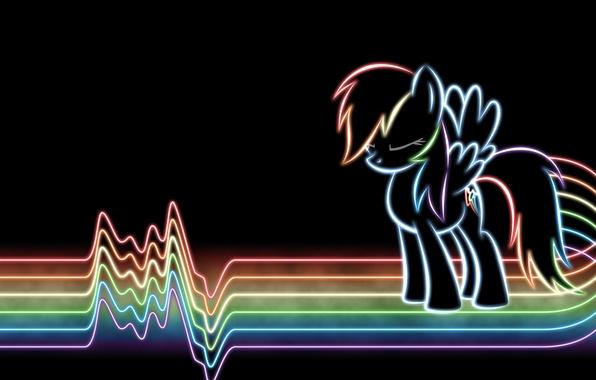 Картинка линии, радуга, неон, rainbow, line, lines, neon, my little pony, rainbow dash, mlp, dash, рэйнбоу, …