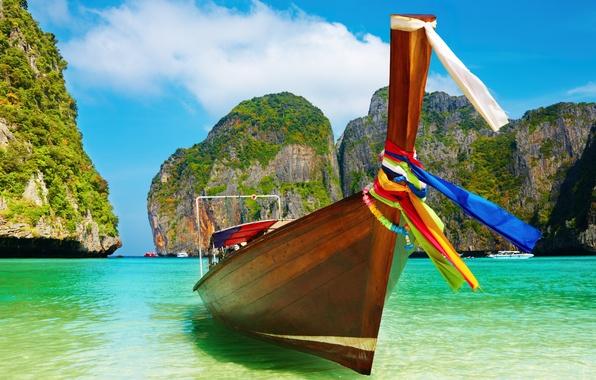 Фото обои лодка, разноцветные, лазури, день, Summer boat, пляж, ленты, цвета, вода, голубое, небо, райский