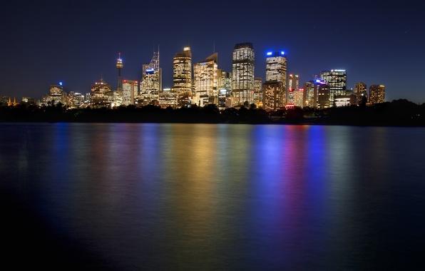 Картинка ночь, Австралия, Сидней, night, Australia, Sydney, Downtown Skyline