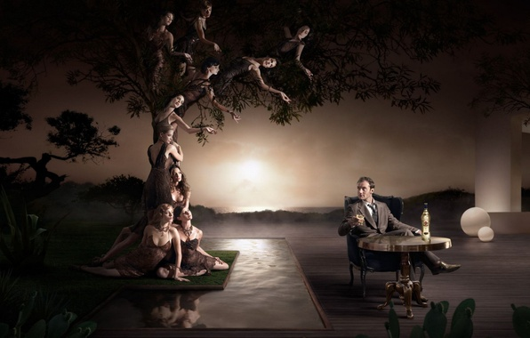 Картинка девушки, дерево, мужик, кресло