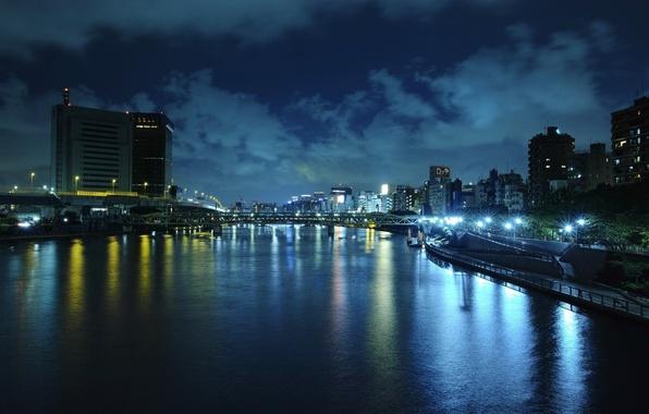 Картинка вода, ночь, мост, город, огни, отражение, река, China, вечер, освещение, Китай, набережная, Beijing, столица, Пекин