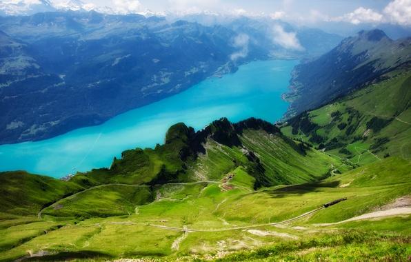 Картинка зелень, небо, трава, облака, деревья, вид, Швейцария, железная дорога, Ротхорн, с вершины Rothorn, Бриенцское озеро, …