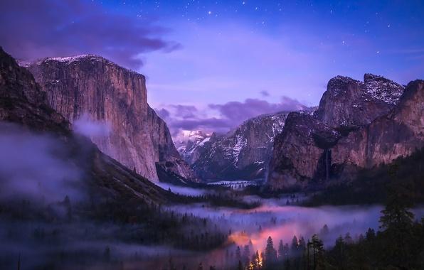 Картинка Yosemite, Waterfall, Valley, Fog, National Park, Tunnel