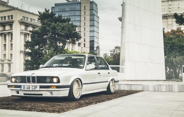 Картинка BMW, Car, White, E30, Stance, LowSociety