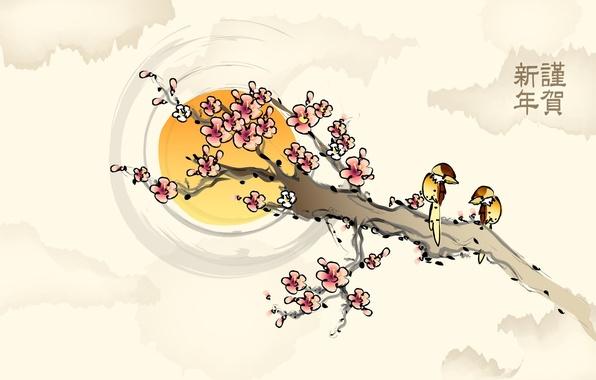 Картинка солнце, цветы, птицы, рисунок, ветка, сакура, иероглифы