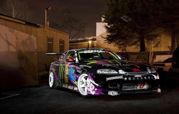Картинка ночь, перед, дрифт, Toyota, Monster Energy, тойота, Drift car, Soarer