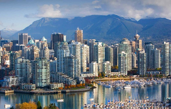 Фото обои Британская Колумбия, горы, Ванкувер, дома, Канада, пейзаж, гавань