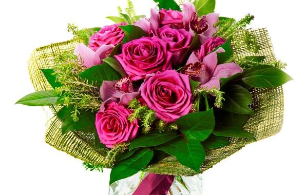 Картинка цветок, цветы, розы, букет, орхидеи, орхидея, красивый