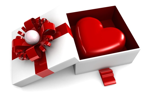 Картинка подарок, сердце, love, box, heart, romantic, Valentine's day, gift