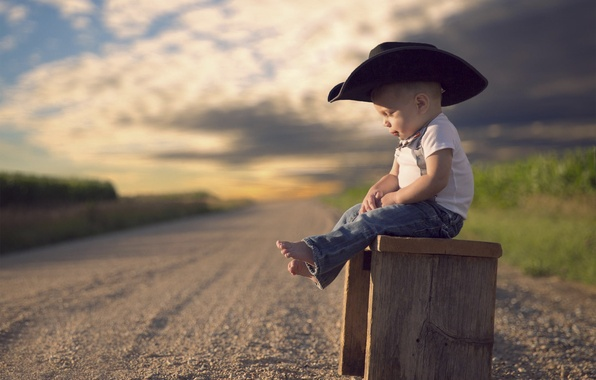 Картинка дорога, шляпа, мальчик, ребёнок, боке