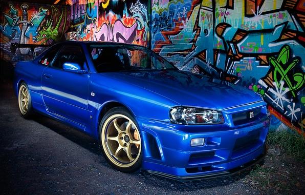 Картинка синий, граффити, Nissan, ниссан, blue, Skyline, R34, скайлайн