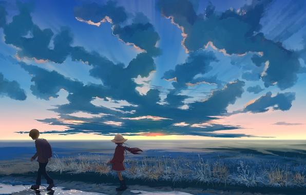 Картинка небо, облака, закат, природа, шляпа, аниме, мальчик, арт, девочка, hangmoon
