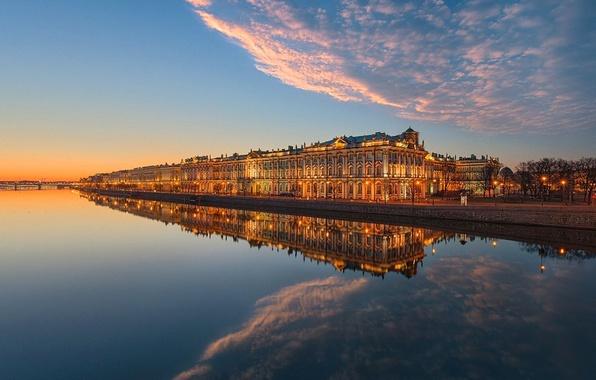 Картинка небо, облака, закат, мост, река, дома, Санкт-Петербург, набережная, Нева