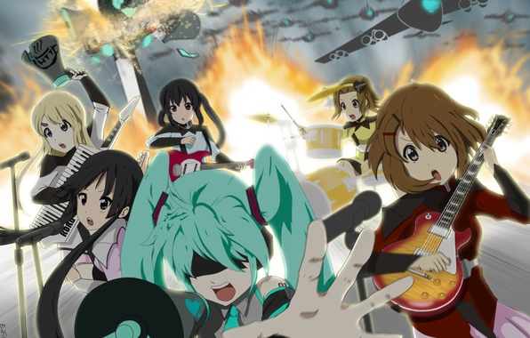 Картинка девушки, огонь, гитара, взрывы, группа, аниме, Hatsune Miku, K-On, Vocaloid, вокалоид, самолёты, Love is War