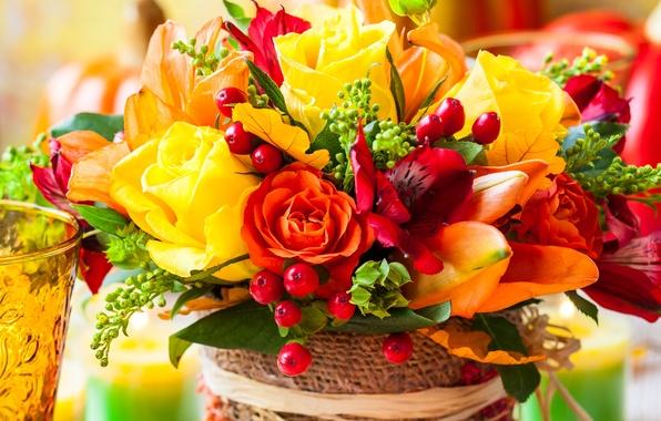 Картинка цветы, ягоды, розы, букет, flowers, berries, bouquet, roses