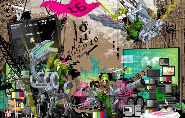 Картинка стиль, игры, робот, флаг, арт, games, art, телевидение, 16 bit, 16 бит
