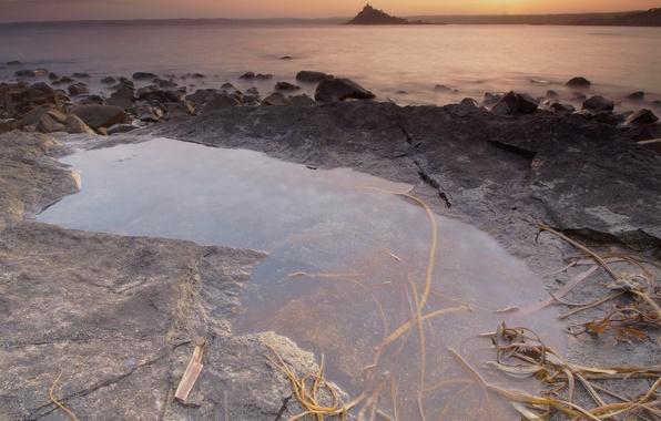 Картинка камни, берег, вечер, лужа