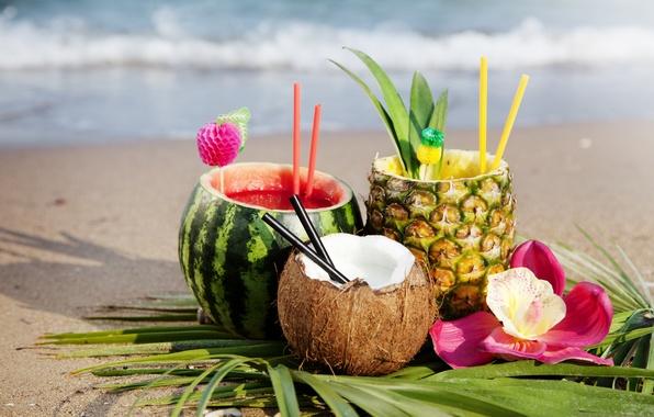 Картинка песок, море, пляж, цветок, лето, листья, солнце, кокос, арбуз, сок, ананас, орхидея, трубочки