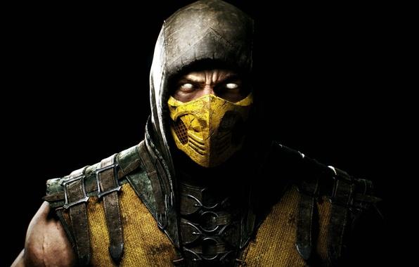 Картинка взгляд, маска, капюшон, боец, Скорпион, ниндзя, Warner Bros. Interactive Entertainment, NINJA, Scorpio, NetherRealm Studios, Mortal …