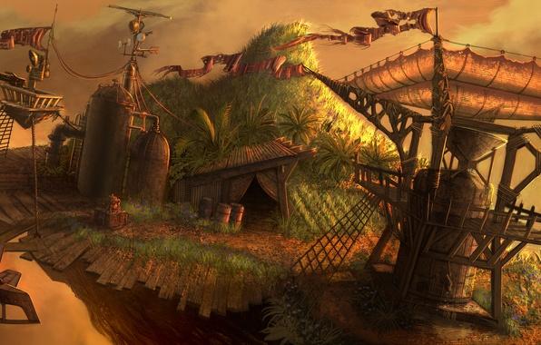 Картинка небо, горы, фантастика, пулемет, обои на рабочий стол, free, бесплатно, укрепление