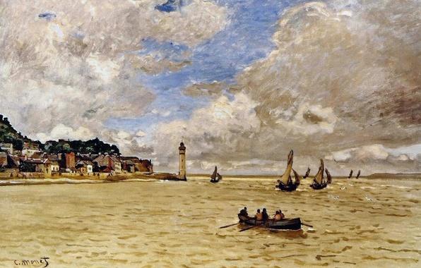 Картинка лодка, маяк, картина, парус, морской пейзаж, Клод Моне, Lighthouse at the Hospice