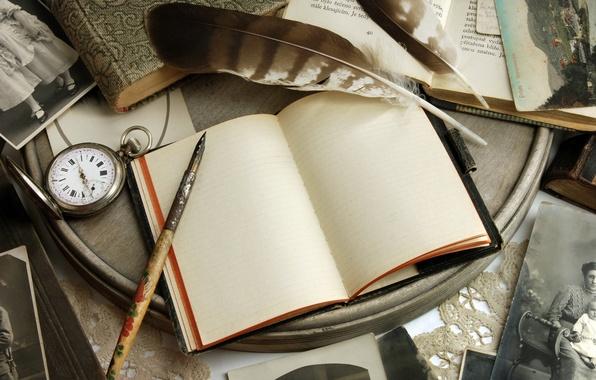 Картинка ретро, бумага, стол, часы, книги, ручка, блокнот, фотографии, vintage, винтаж, открытки