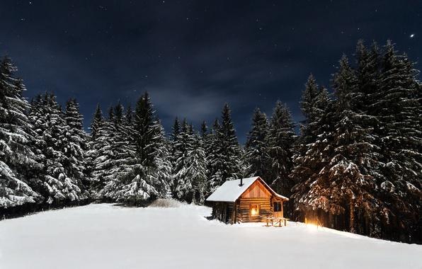 Картинка зима, лес, небо, звезды, свет, снег, деревья, ночь, дом, изба, опушка