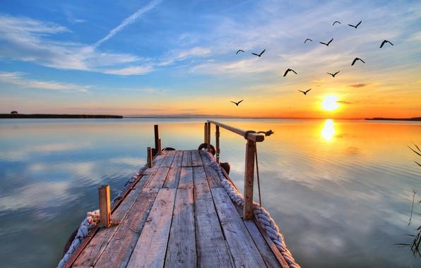 Картинка закат, озеро, чайки, landscape, nature, sunset, lake, pier